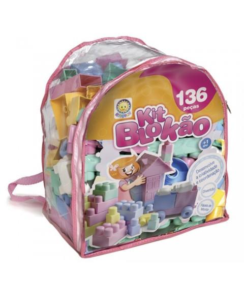 Blocos de Montar Kit Blokão Rosa 136 Peças - Kitstar