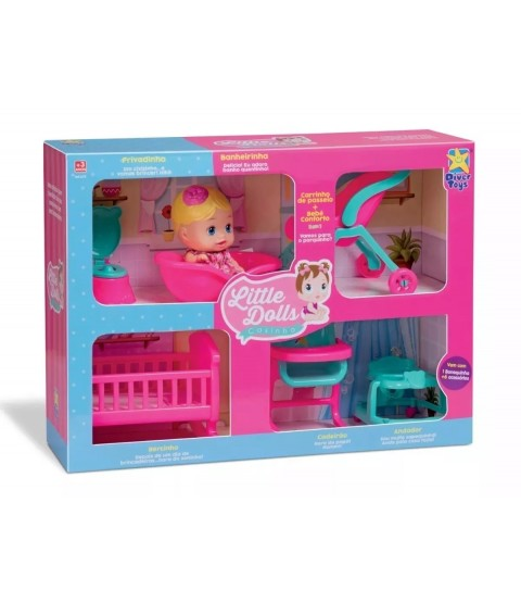 Little Dolls Casinha - 1 Boneca + 6 Acessórios
