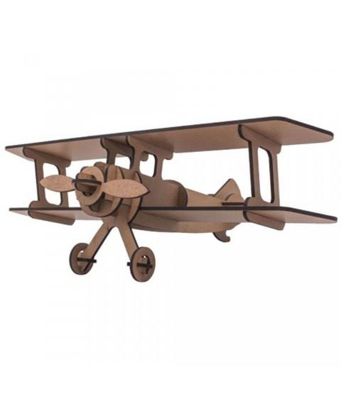 QC 3D Avião 18 peças MDF