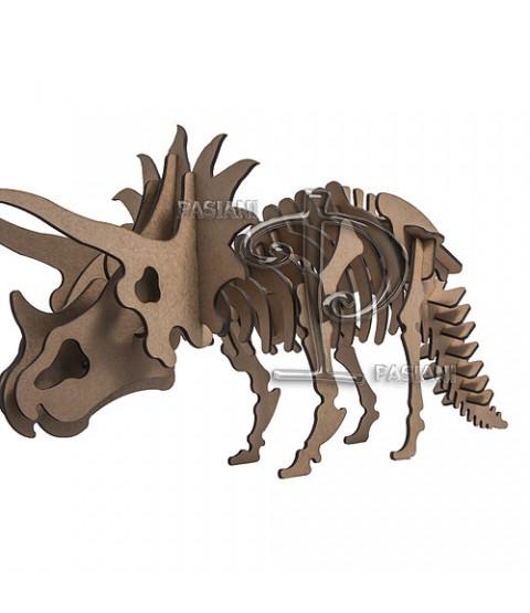QC 3D Dinossauro Triceratops 37 peças MDF