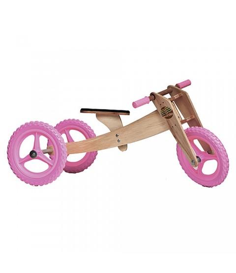 Bicicleta de Madeira 03 em 01 - Woodbike Rosa