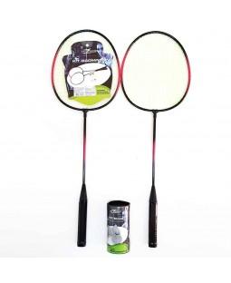 Kit Badminton com 2 Raquetes e 3 Petecas