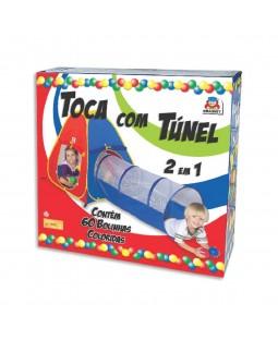 Toca com Túnel 2 em 1 c/ 60 Bolinhas