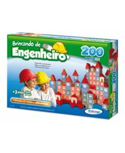 Brincando de Engenheiro - 200 Peças em madeira