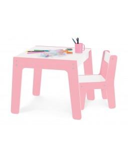 Conjunto de Mesa + Cadeira Infantil - Rosa