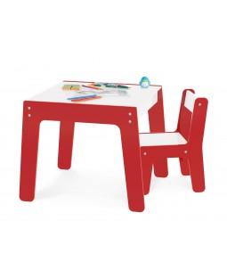 Conjunto de Mesa + Cadeira Infantil - Vermelha